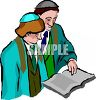 Boy and His Rabbi Studying for His Bar Mitzvah clipart