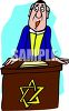 Cartoon of a Rabbi Giving a Sermon at a Podium clipart