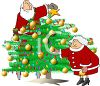 Cartoon of Santa Claus and Mrs Claus Trimming a Christmas Tree clipart