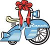Vintage Bike Christmas Present with a Bow clipart