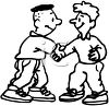 Young Men Shaking Hands in Greeting clipart