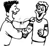 Guy Greeting His Friend with a Handshake clipart