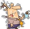 Cartoon of a Man Shaking from Too Much Caffeine clipart