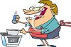 Cartoon of a Wacky Woman Shaking Salt Into a Pot of Food clipart