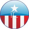 Patriotic Campaign Button with Stars and Stripes clipart