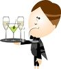 Cartoon Cocktail Waiter Holding a Tray of Drinks clipart