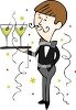 New Year Party Waiter Holding Martini's on a Tray clipart
