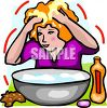 Blond Woman Washing Her Hair in a Basin clipart