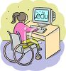 Handicapped Girl in a Wheelchair at School clipart