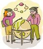 Geography Students Standing Around a World Globe clipart