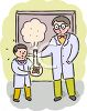 Science Teacher Doing an Experiment with a Student clipart