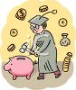 Finance Student Breaking a Piggy Bank with Money Flying Around clipart