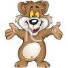 Cute Bear Cub Cartoon Animal Welcoming Gesture clipart
