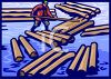 Lumberjack Rolling Logs in a Lake clipart