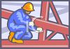 Construction Worker Standing on a Girder clipart
