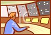 Man Working the Control Booth of a Dam clipart