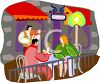 Couple Being Serenaded at a Sidewalk Bistro at Night clipart