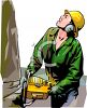 Female Lumberjack Cutting Down a Tree clipart