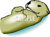 Cute cartoon Sea Otter lying on it's back in the water clipart