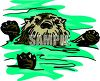 Fuzzy Sea Otter floating in the ocean clipart