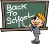 Boy Standing in Front of a Chalkboard with Back to School Message clipart