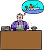Businessman at His Desk Dreaming of Going Fishing clipart