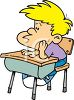 Bored Schoolboy Sitting at His Desk in a Classroom clipart