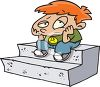 Bored Red Haired Boy Sitting on a Stoop clipart