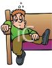 Bored Kid Slouching in a Church Pew clipart