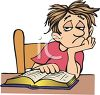 Cartoon of a Bored Kid Doing Homework clipart