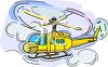Cartoon of a Helicopter with It's Blades Turning in the Air clipart