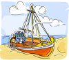 Fishing Boat on the Beach clipart