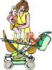 Woman Putting One of Her Twins Into a Double Stroller clipart