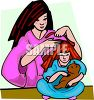 Mom Brushing Her Daughter's Hair clipart