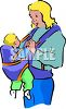 Young Mother with Her Baby in a Carrier  clipart