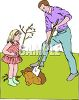 Little Girl Helping Her Dad Plant a Tree clipart