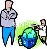 Father Showing His Son About Recycling clipart
