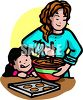 Little Girl and Her Big Sister Baking Cookies clipart