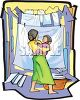 Woman Hanging Clothes to Dry with Her Baby on Her Hip clipart
