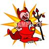 Cartoon of a Crying Devil with a Broken Pitchfork clipart