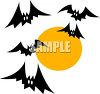 Cartoon of Halloween Bats Flying in Front of a Full Moon clipart