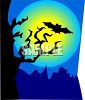 Bat Flying in Front of a full Moon with a Tree in Silhouette clipart