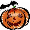 Halloween Pumpkin with a Vampire Bat clipart