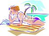 Woman Wearing a Bikini Reading on the Beach clipart