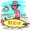 Cartoon of a Lifeguard Sitting on the Beach with Zinc on His Nose clipart