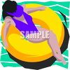 Pretty Woman Relaxing on an Inner Tube in a Pool clipart