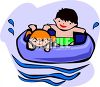 Kids in an Inner Tube in a Pool clipart