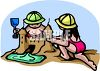 Two Kids Building a Sandcastle Wearing Sun Hats clipart