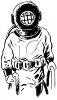 Vintage Black and White Deep Sea Diver  clipart