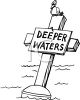Bird Sitting on a Buoy with a Deeper Waters Sign clipart
